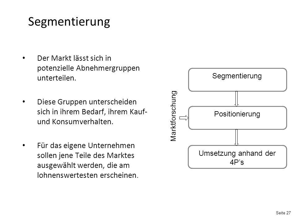 Seite 27 Segmentierung Der Markt lässt sich in potenzielle Abnehmergruppen unterteilen.
