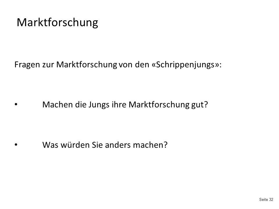Seite 32 Marktforschung Fragen zur Marktforschung von den «Schrippenjungs»: Machen die Jungs ihre Marktforschung gut.
