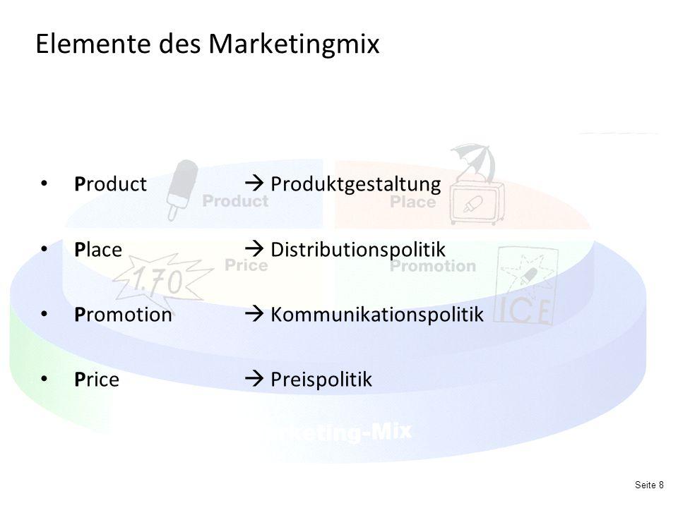 Seite 8 Elemente des Marketingmix Product  Produktgestaltung Place  Distributionspolitik Promotion  Kommunikationspolitik Price  Preispolitik