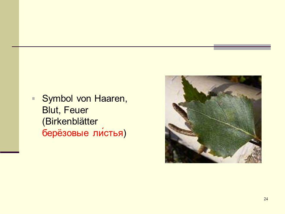24  Symbol von Haaren, Blut, Feuer (Birkenblätter берëзовые ли́стья)