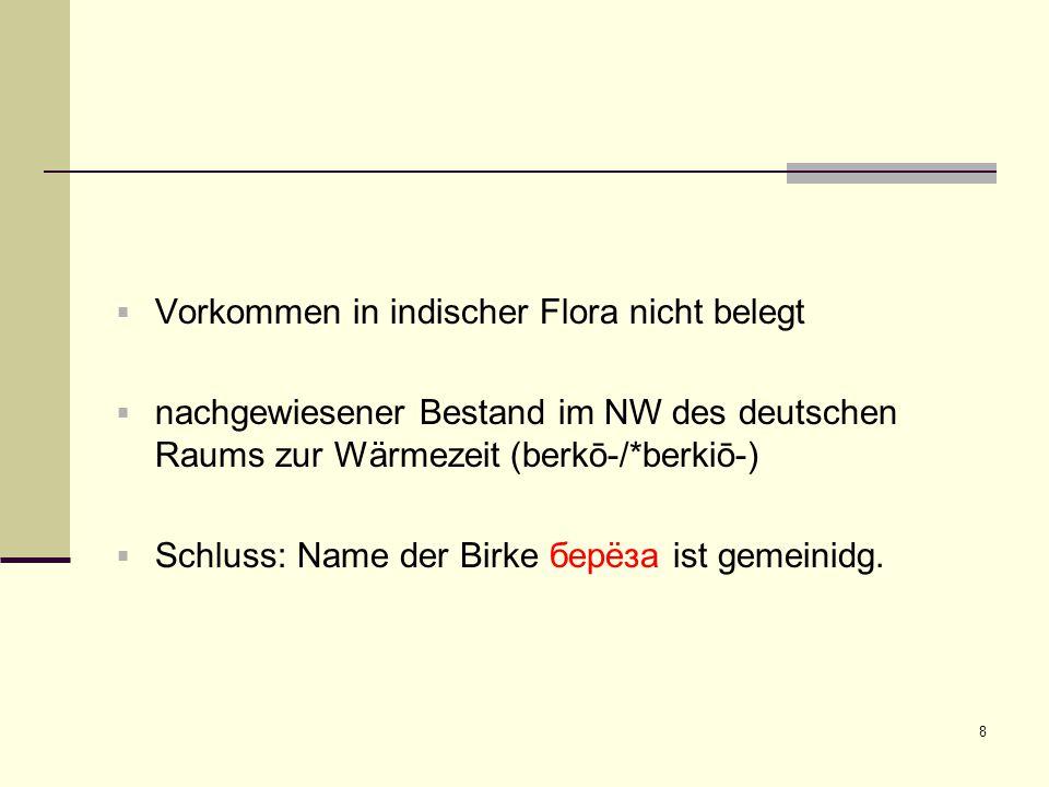 8  Vorkommen in indischer Flora nicht belegt  nachgewiesener Bestand im NW des deutschen Raums zur Wärmezeit (berkō-/*berkiō-)  Schluss: Name der B