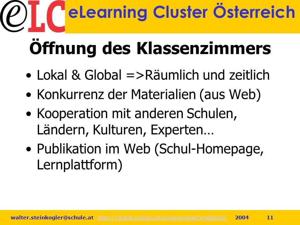 walter.steinkogler@schule.at http://www.schule.at/gegenstand/englisch/ 2004 11http://www.schule.at/gegenstand/englisch/ eLearning Cluster Österreich Ö