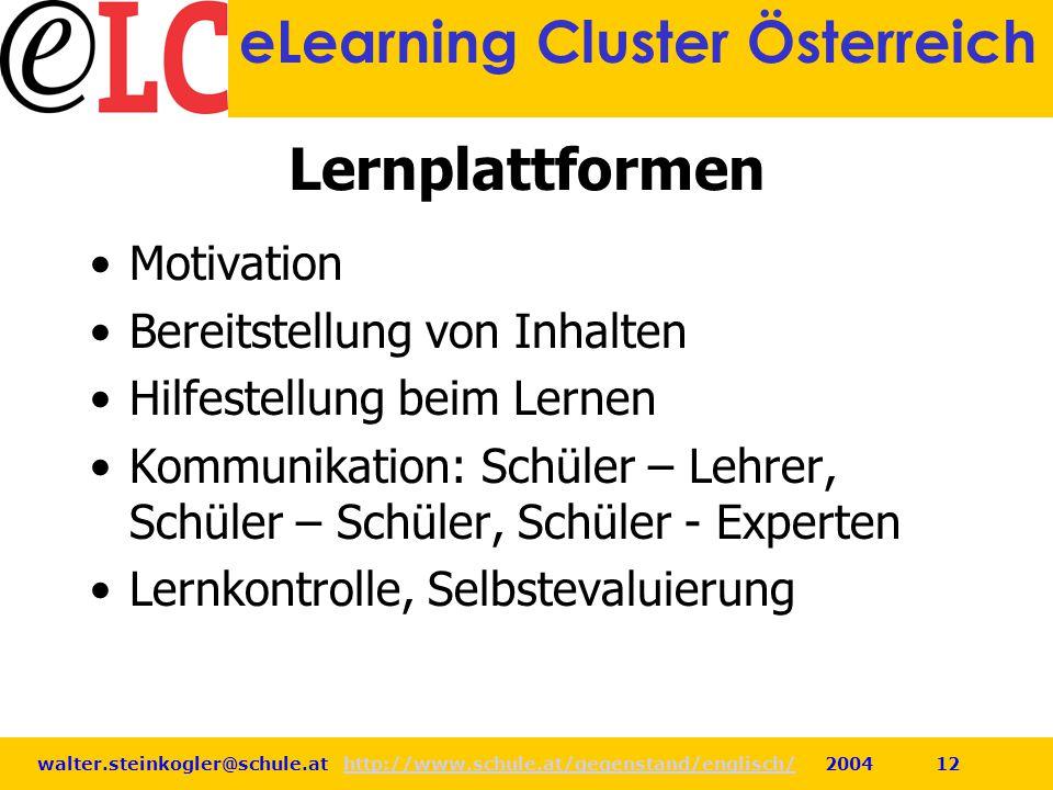 walter.steinkogler@schule.at http://www.schule.at/gegenstand/englisch/ 2004 12http://www.schule.at/gegenstand/englisch/ eLearning Cluster Österreich L