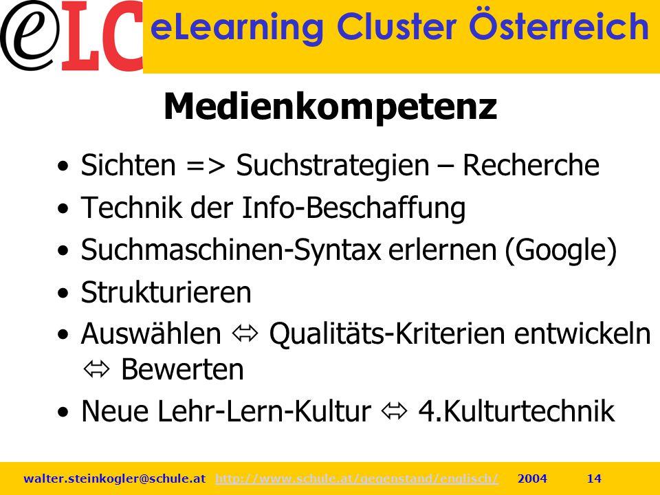 walter.steinkogler@schule.at http://www.schule.at/gegenstand/englisch/ 2004 14http://www.schule.at/gegenstand/englisch/ eLearning Cluster Österreich M