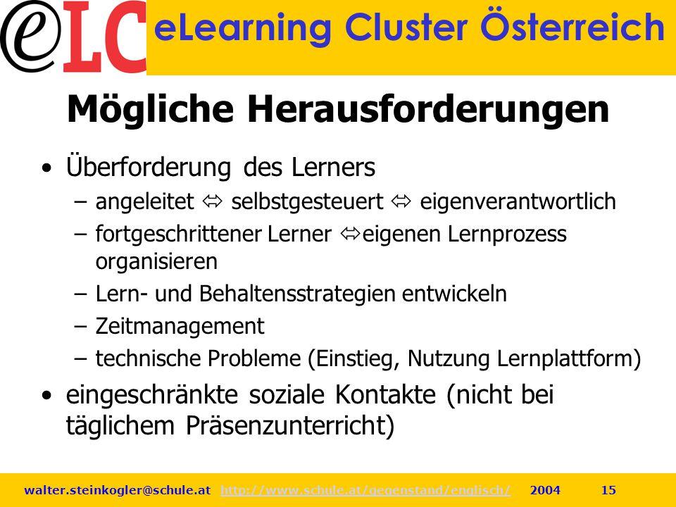 walter.steinkogler@schule.at http://www.schule.at/gegenstand/englisch/ 2004 15http://www.schule.at/gegenstand/englisch/ eLearning Cluster Österreich M