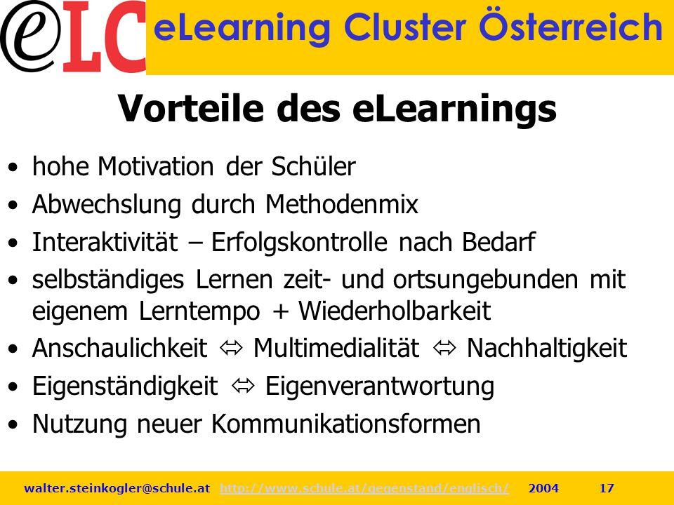 walter.steinkogler@schule.at http://www.schule.at/gegenstand/englisch/ 2004 17http://www.schule.at/gegenstand/englisch/ eLearning Cluster Österreich V