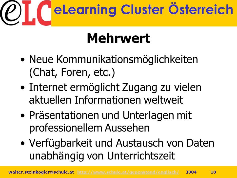 walter.steinkogler@schule.at http://www.schule.at/gegenstand/englisch/ 2004 18http://www.schule.at/gegenstand/englisch/ eLearning Cluster Österreich M