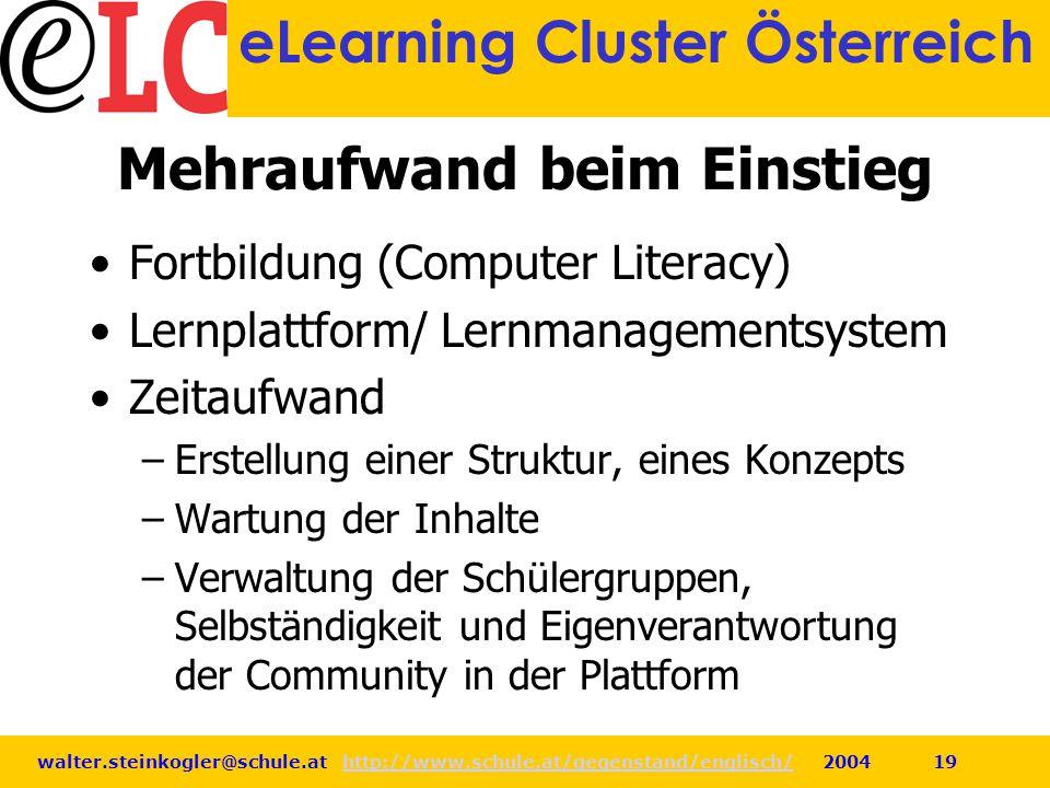 walter.steinkogler@schule.at http://www.schule.at/gegenstand/englisch/ 2004 19http://www.schule.at/gegenstand/englisch/ eLearning Cluster Österreich M