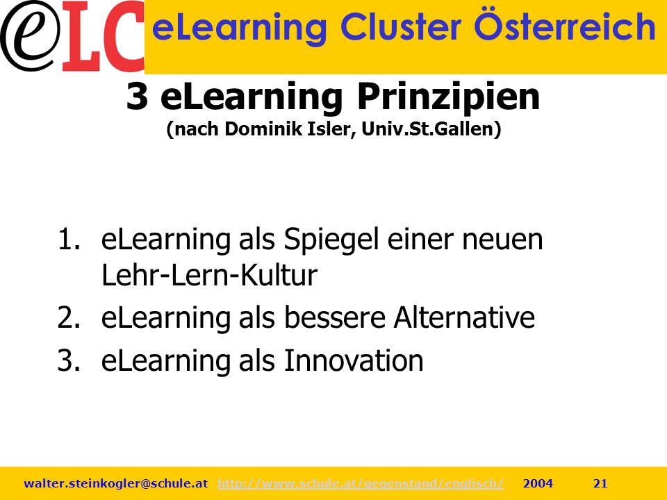 walter.steinkogler@schule.at http://www.schule.at/gegenstand/englisch/ 2004 21http://www.schule.at/gegenstand/englisch/ eLearning Cluster Österreich 3