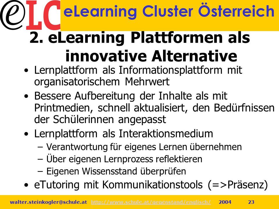 walter.steinkogler@schule.at http://www.schule.at/gegenstand/englisch/ 2004 23http://www.schule.at/gegenstand/englisch/ eLearning Cluster Österreich 2