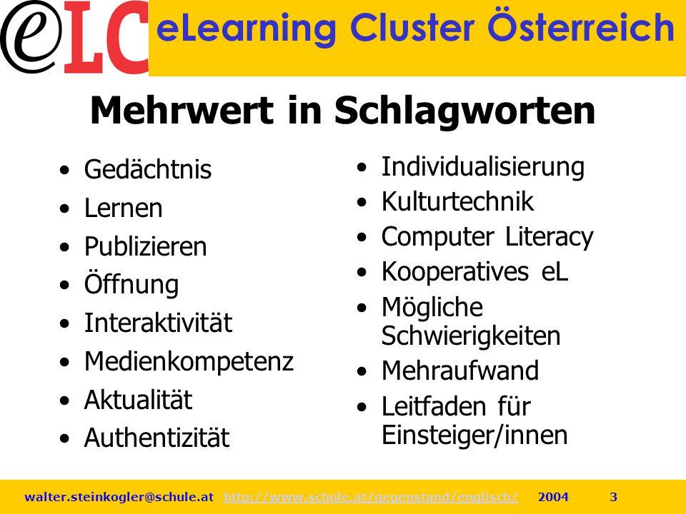 walter.steinkogler@schule.at http://www.schule.at/gegenstand/englisch/ 2004 3http://www.schule.at/gegenstand/englisch/ eLearning Cluster Österreich Me
