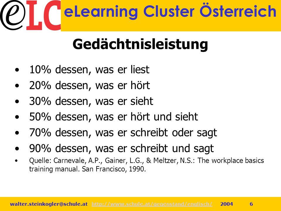 walter.steinkogler@schule.at http://www.schule.at/gegenstand/englisch/ 2004 6http://www.schule.at/gegenstand/englisch/ eLearning Cluster Österreich Ge