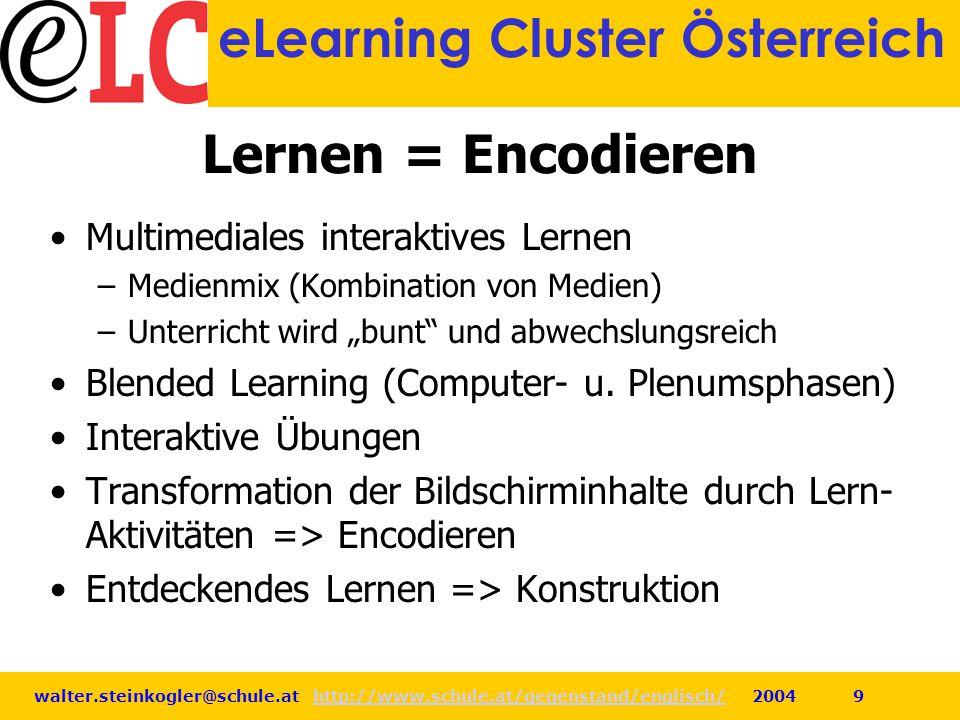 walter.steinkogler@schule.at http://www.schule.at/gegenstand/englisch/ 2004 9http://www.schule.at/gegenstand/englisch/ eLearning Cluster Österreich Le