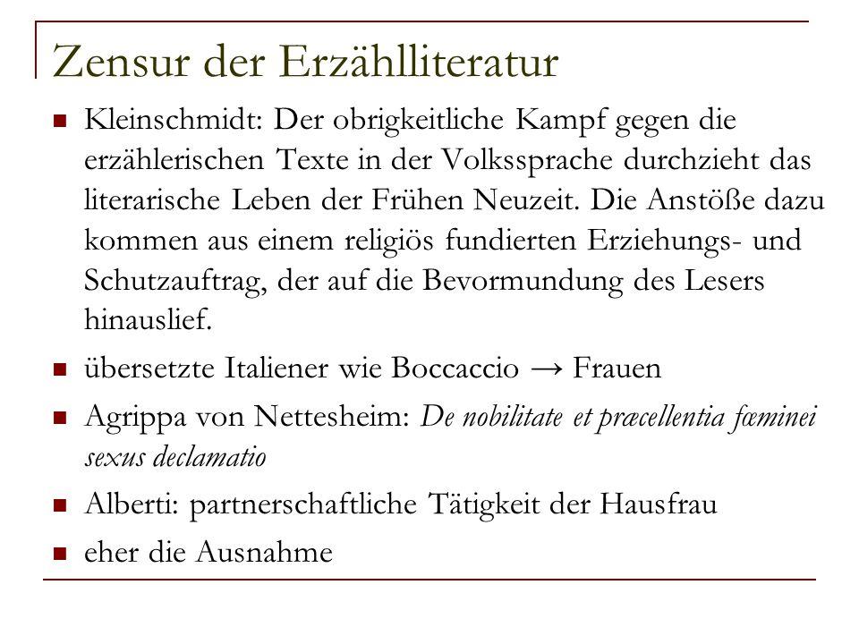 Zensur der Erzählliteratur Kleinschmidt: Der obrigkeitliche Kampf gegen die erzählerischen Texte in der Volkssprache durchzieht das literarische Leben
