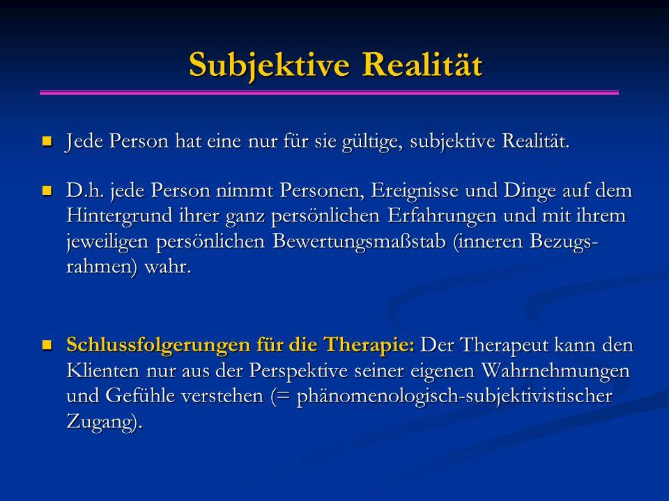 Subjektive Realität Jede Person hat eine nur für sie gültige, subjektive Realität. Jede Person hat eine nur für sie gültige, subjektive Realität. D.h.