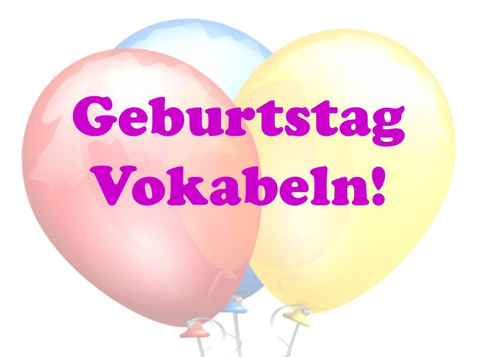 Geburtstag Vokabeln!