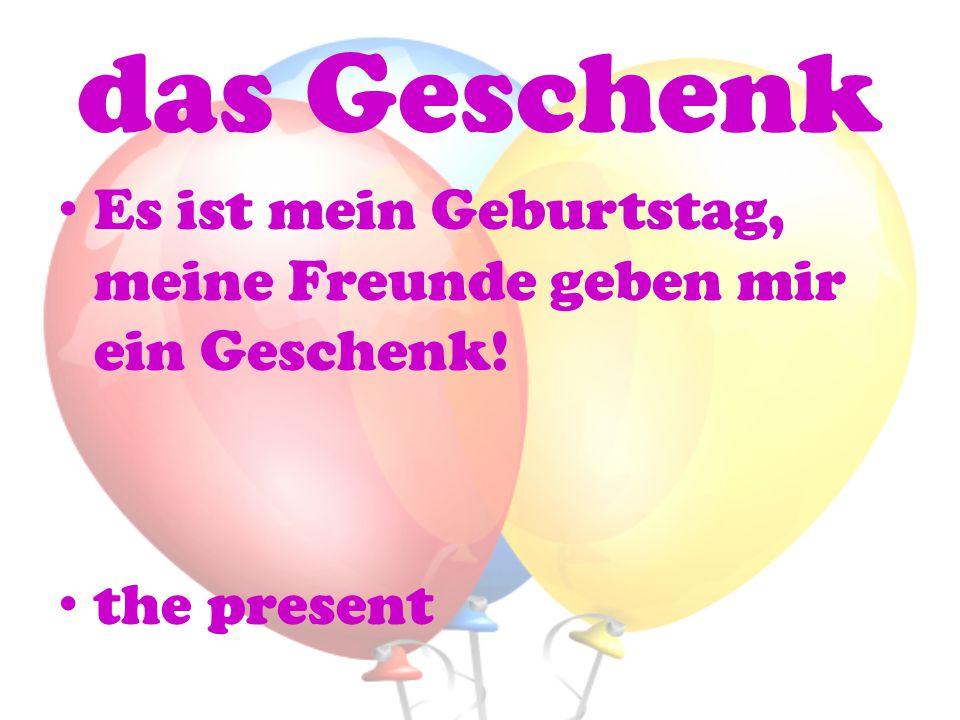 das Geschenk Es ist mein Geburtstag, meine Freunde geben mir ein Geschenk! the present