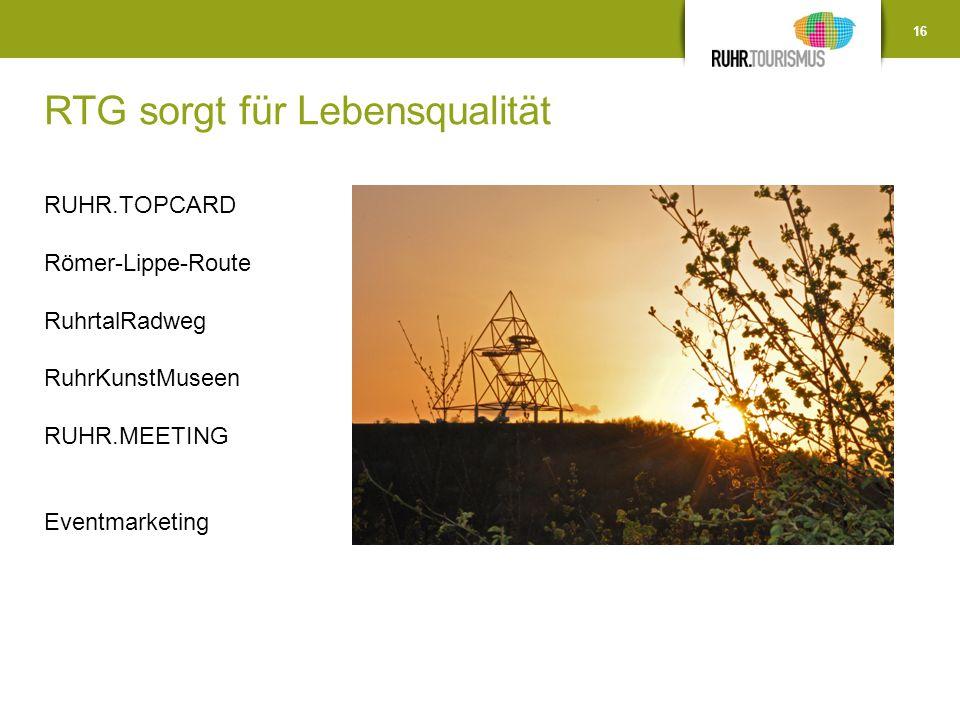 RTG sorgt für Lebensqualität! 16 RUHR.TOPCARD Römer-Lippe-Route RuhrtalRadweg RuhrKunstMuseen RUHR.MEETING Eventmarketing