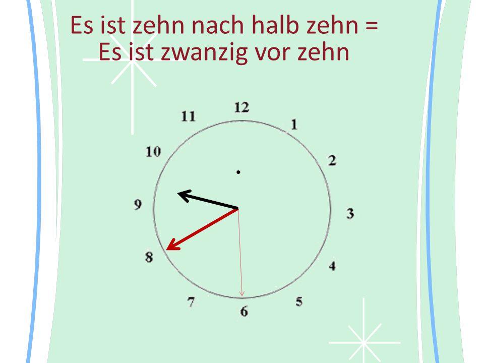Es ist zehn nach halb zehn = Es ist zwanzig vor zehn