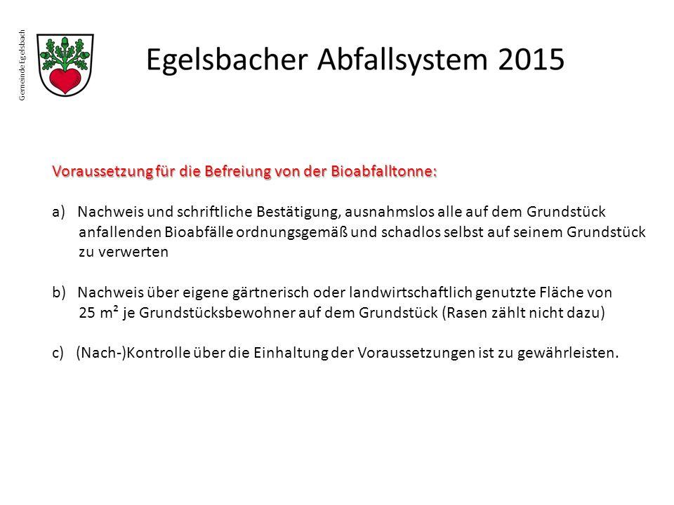Gemeinde Egelsbach Voraussetzung für die Befreiung von der Bioabfalltonne: a)Nachweis und schriftliche Bestätigung, ausnahmslos alle auf dem Grundstüc