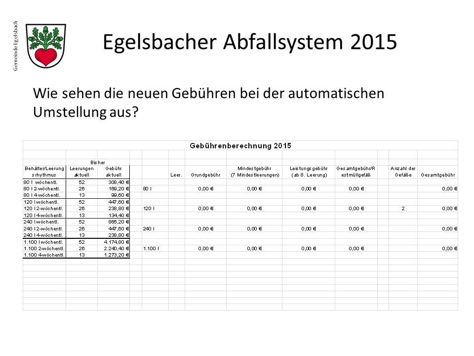Gemeinde Egelsbach Wie sehen die neuen Gebühren bei der automatischen Umstellung aus?