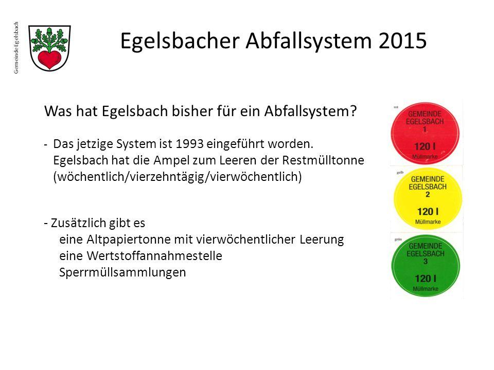 Gemeinde Egelsbach Egelsbacher Abfallsystem 2015 Was hat Egelsbach bisher für ein Abfallsystem? - Das jetzige System ist 1993 eingeführt worden. Egels