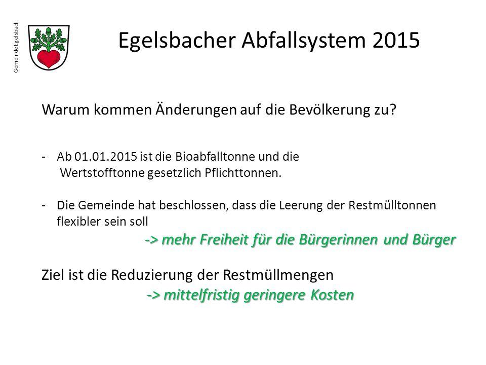 Gemeinde Egelsbach Egelsbacher Abfallsystem 2015 Warum kommen Änderungen auf die Bevölkerung zu? -Ab 01.01.2015 ist die Bioabfalltonne und die Wertsto
