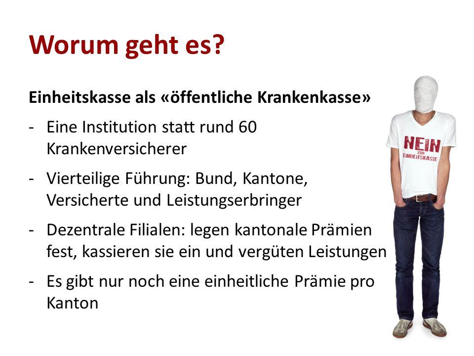 Worum geht es? Einheitskasse als «öffentliche Krankenkasse» -Eine Institution statt rund 60 Krankenversicherer -Vierteilige Führung: Bund, Kantone, Ve
