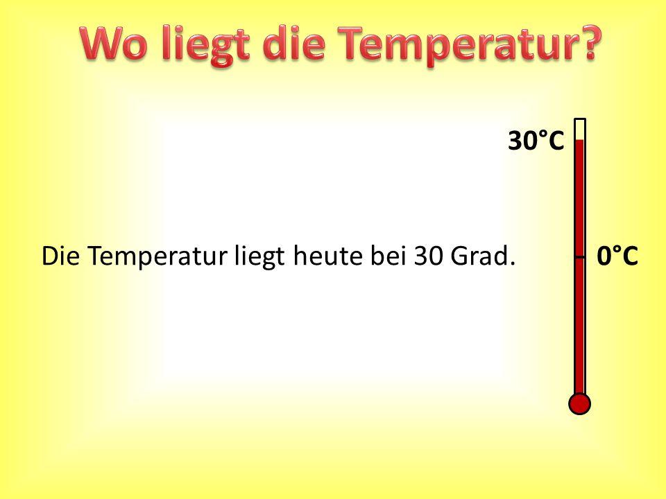 0°C Die Temperatur liegt heute bei 30 Grad. 30°C