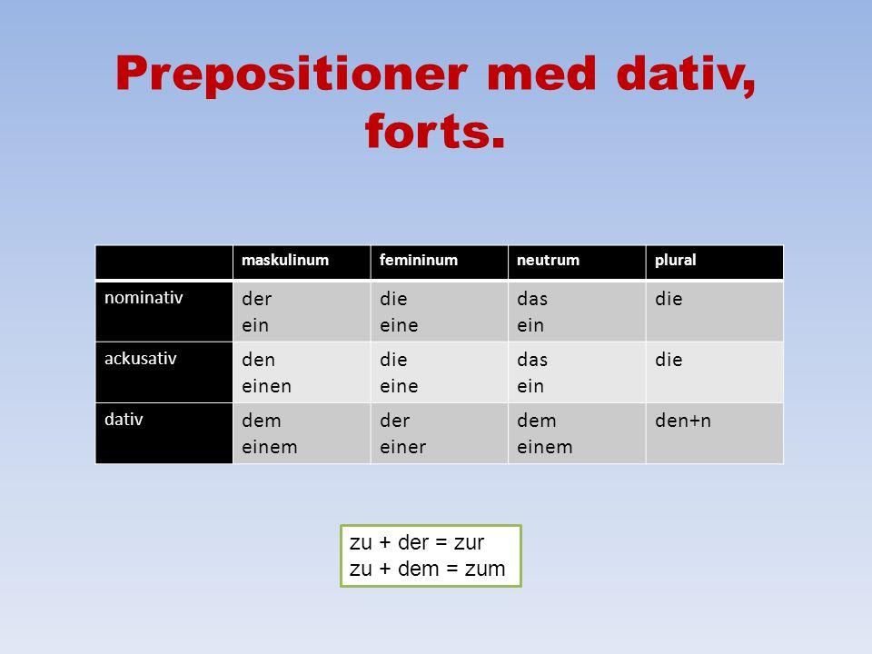 Prepositioner med dativ ausur, från auβerutom beihos, vid gegenübermittemot mitmed nachefter, till seitsedan vonfrån, av zutill