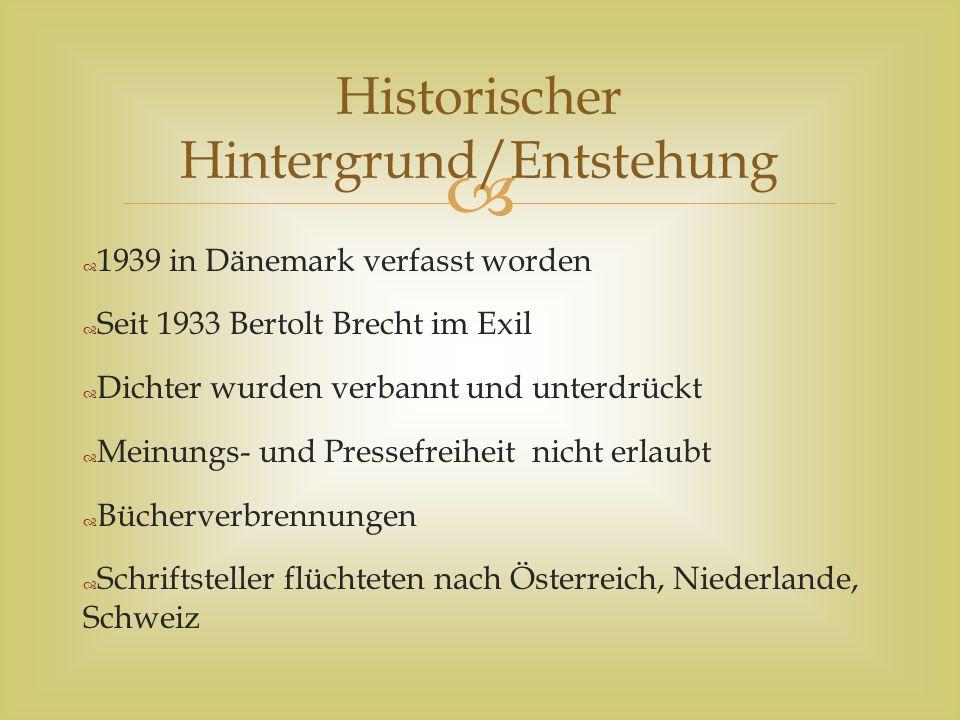 """  Bertolt Brecht musste mit Problemen des Exils kämpfen  Am meisten schmerzte ihn der Verlust des deutschen Publikums  War gefangen zwischen Hilflosigkeit und Selbstbeschuldigung  Aus diesen Gefühlen heraus entstand """"Schlechte Zeit für Lyrik Historischer Hintergrund/Entstehung"""