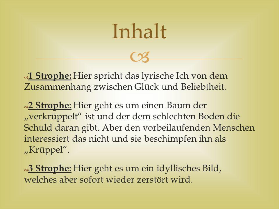   4 Strophe: Sie ist die längste Strophe und in der geht es um den Gemütszustand in welchem sich das lyrische Ich befindet.