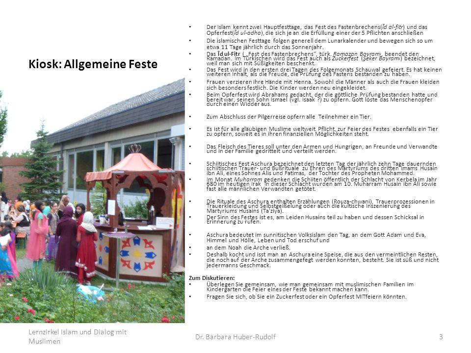 Kiosk: Allgemeine Feste Der Islam kennt zwei Hauptfesttage, das Fest des Fastenbrechens(Īd al-fitr) und das Opferfest(Īd ul-adha), die sich je an die Erfüllung einer der 5 Pflichten anschließen Die islamischen Festtage folgen generell dem Lunarkalender und bewegen sich so um etwa 11 Tage jährlich durch das Sonnenjahr.