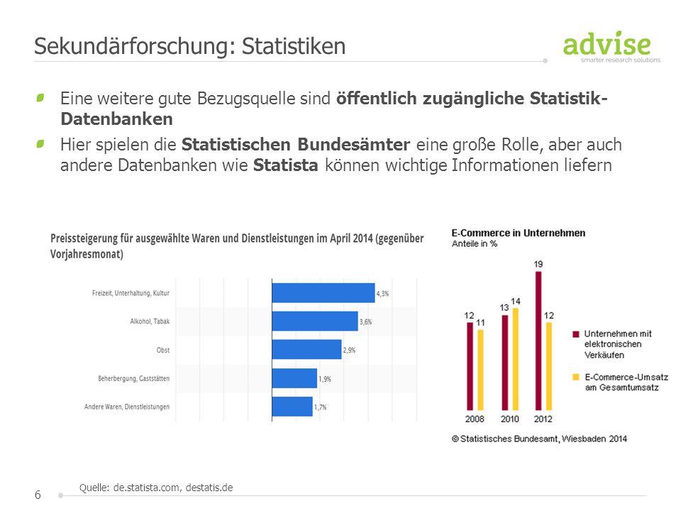 6 Eine weitere gute Bezugsquelle sind öffentlich zugängliche Statistik- Datenbanken Hier spielen die Statistischen Bundesämter eine große Rolle, aber