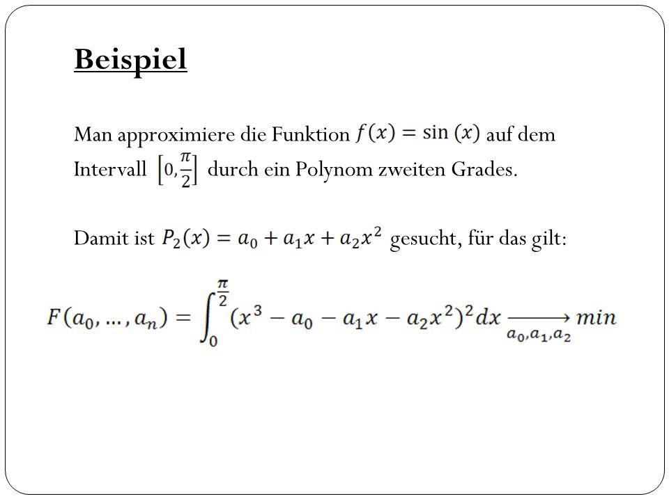 Beispiel Man approximiere die Funktion auf dem Intervall durch ein Polynom zweiten Grades. Damit ist gesucht, für das gilt: