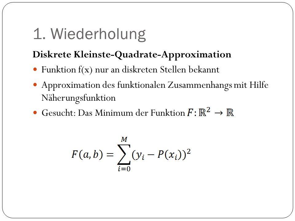 1. Wiederholung Diskrete Kleinste-Quadrate-Approximation Funktion f(x) nur an diskreten Stellen bekannt Approximation des funktionalen Zusammenhangs m