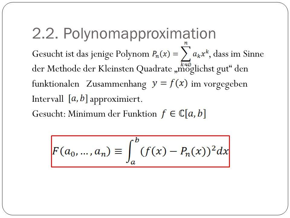 """2.2. Polynomapproximation Gesucht ist das jenige Polynom, dass im Sinne der Methode der Kleinsten Quadrate """"möglichst gut"""" den funktionalen Zusammenha"""