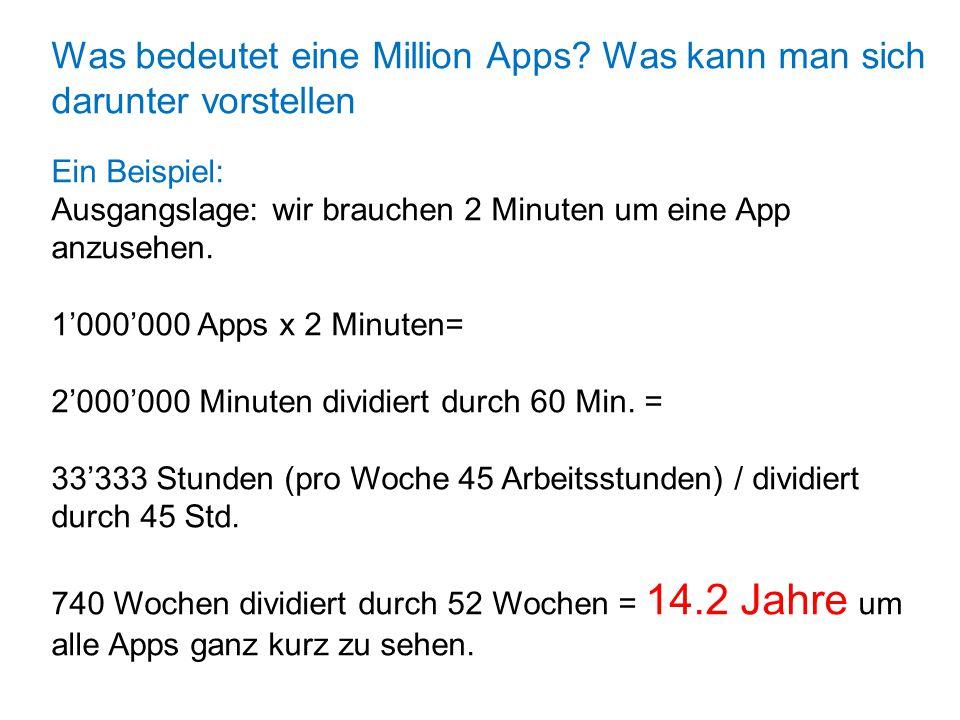 Was bedeutet eine Million Apps? Was kann man sich darunter vorstellen Ein Beispiel: Ausgangslage: wir brauchen 2 Minuten um eine App anzusehen. 1'000'