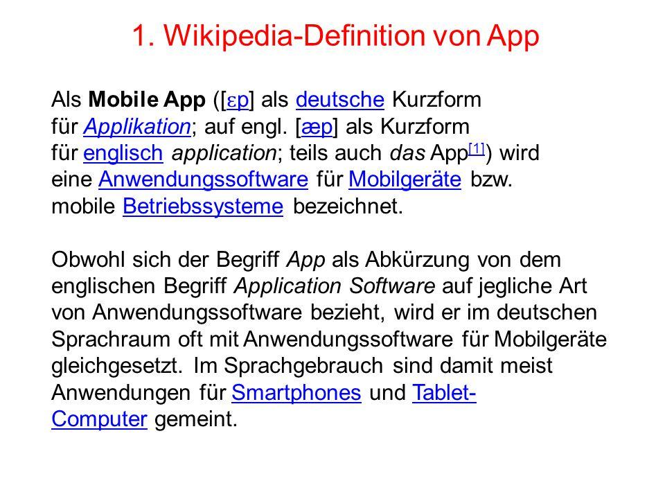 Beispiele: 50 Android-Topp-Apps Es würde zuviel Platz brauchen, um diese 50 Apps in die Präsentation zu kopieren; Klicken Sie diesen Link an, aber nur in der Präsentationsform und Sie finden diese inklusive einem kleinen Beschrieb: http://www.pctipp.ch/fileadmin/media/heftarchiv/2013/14/1 418Apps.pdf Beispiele: Apps von Apple http.www.apps 17.09.14.pptx Weitere Beispiele: Neben den professionellen IT- Firmen, welche Apps-liefern, gibt es immer mehr Grossfirmen wie Swisscom, Migros, Coop oder Warenhäuser, wie Glattzentrum, Mediamarkt und Navigationsprogramme (Bsp: TomTom von Google) etc.