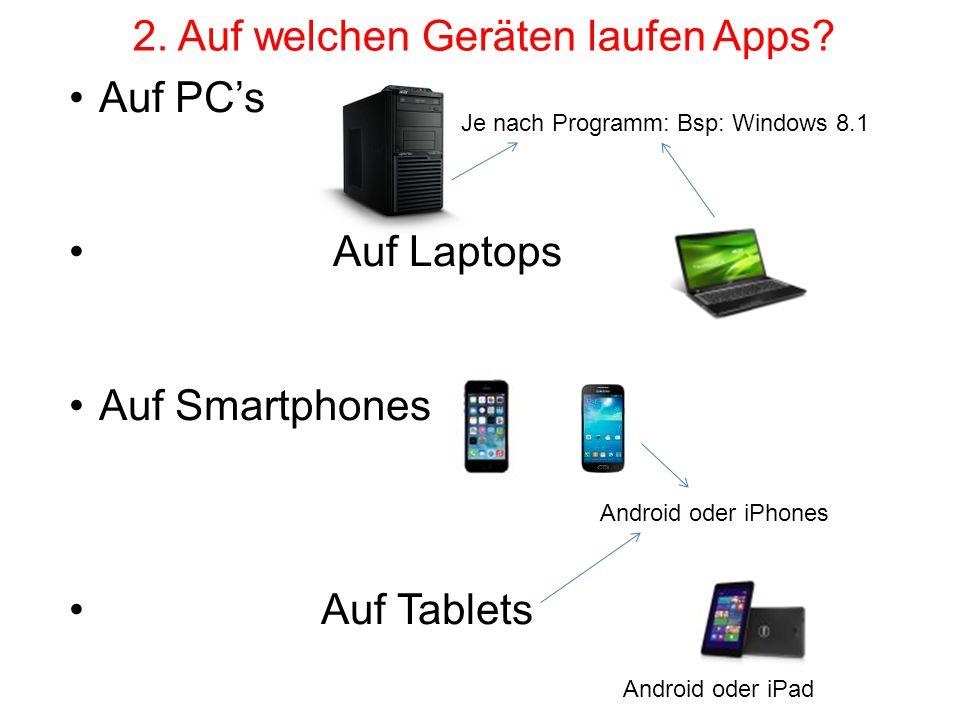 2. Auf welchen Geräten laufen Apps? Auf PC's Auf Laptops Auf Smartphones Auf Tablets Je nach Programm: Bsp: Windows 8.1 Android oder iPhones Android o