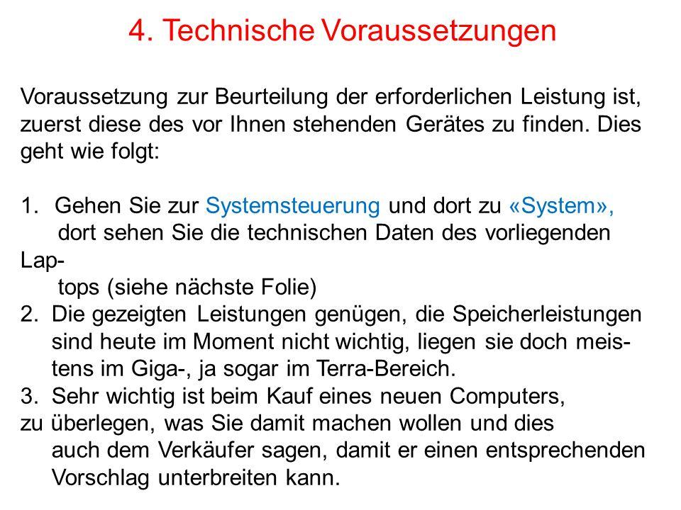 4. Anzeige der Betriebsdaten dieses Laptops. (32 Bit System ist langsamer)