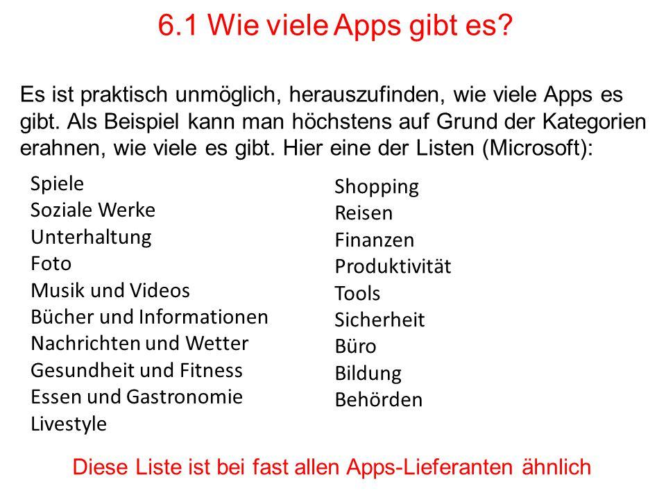 6.1 Wie viele Apps gibt es? Es ist praktisch unmöglich, herauszufinden, wie viele Apps es gibt. Als Beispiel kann man höchstens auf Grund der Kategori