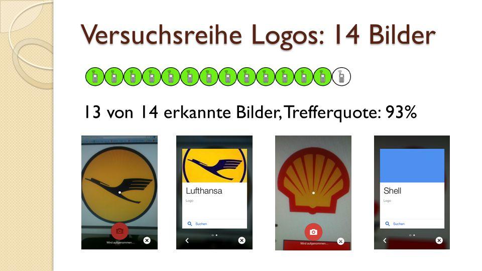 Versuchsreihe Logos: 14 Bilder 13 von 14 erkannte Bilder, Trefferquote: 93%