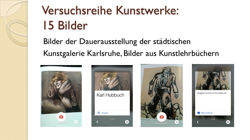 Versuchsreihe Kunstwerke: 15 Bilder Bilder der Dauerausstellung der städtischen Kunstgalerie Karlsruhe, Bilder aus Kunstlehrbüchern