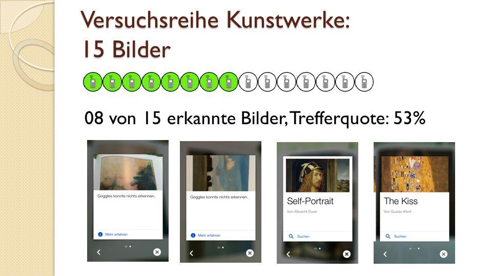 Versuchsreihe Kunstwerke: 15 Bilder 08 von 15 erkannte Bilder, Trefferquote: 53%