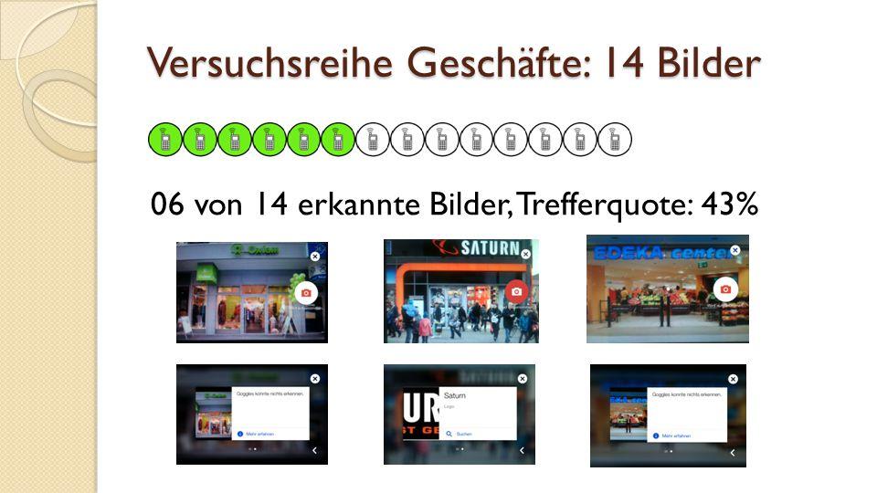 Versuchsreihe Geschäfte: 14 Bilder 06 von 14 erkannte Bilder, Trefferquote: 43%