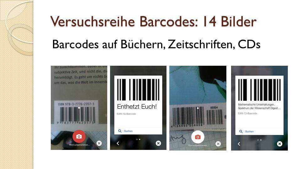 Versuchsreihe Barcodes: 14 Bilder Barcodes auf Büchern, Zeitschriften, CDs