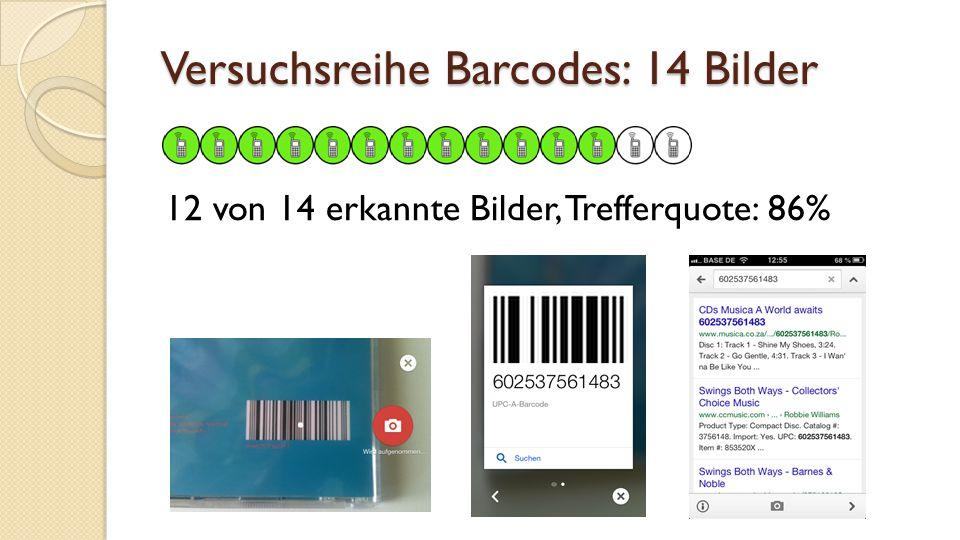 Versuchsreihe Barcodes: 14 Bilder 12 von 14 erkannte Bilder, Trefferquote: 86%