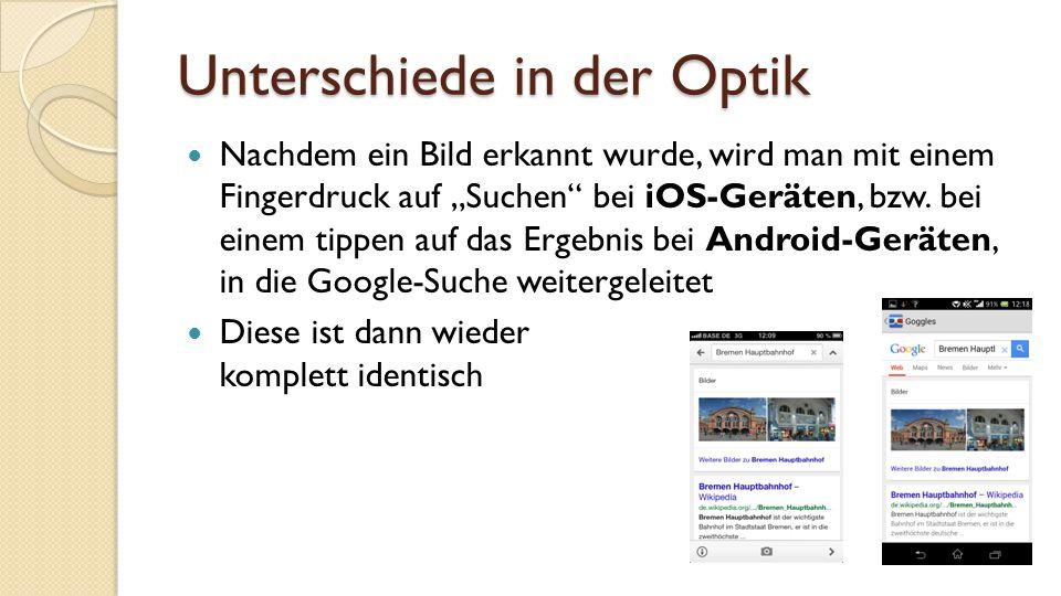 """Unterschiede in der Optik Nachdem ein Bild erkannt wurde, wird man mit einem Fingerdruck auf """"Suchen bei iOS-Geräten, bzw."""
