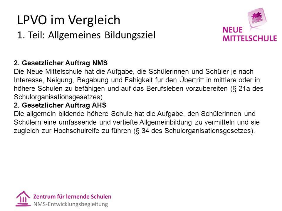 LPVO im Vergleich 1.Teil: Allgemeines Bildungsziel 2.